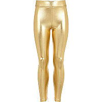 Girls gold metallic high waisted leggings