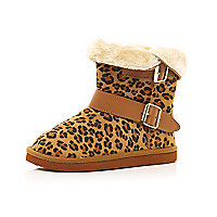 Girls brown faux fur leopard print boots