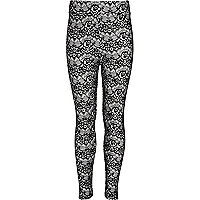Girls black flocked lace leggings