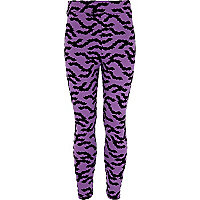 Girls purple flocked bat leggings