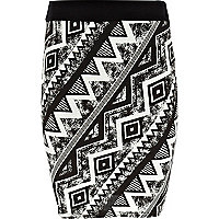 Girls black aztec tube skirt