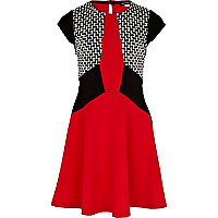 Girls red colour block skater dress