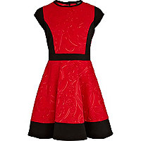 Girls red embossed scuba skater dress