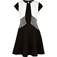 Girls black colour block skater dress