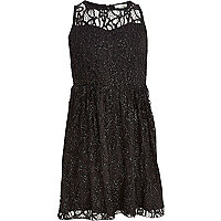 Girls black tinsel lace skater dress