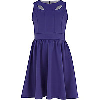 Girls purple cut out skater dress