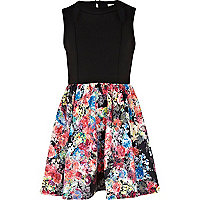Girls black floral caged dress