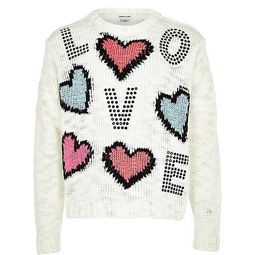 Girls cream love studded jumper