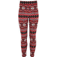 Girls red snowflake jacquard leggings