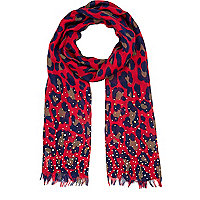 Girls red leopard print studded scarf