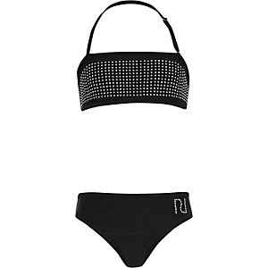 Girls black heatseal bandeau bikini