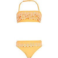 Girls orange ruffle bandeau bikini