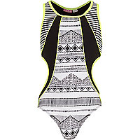 Girls black aztec print cut out swimsuit