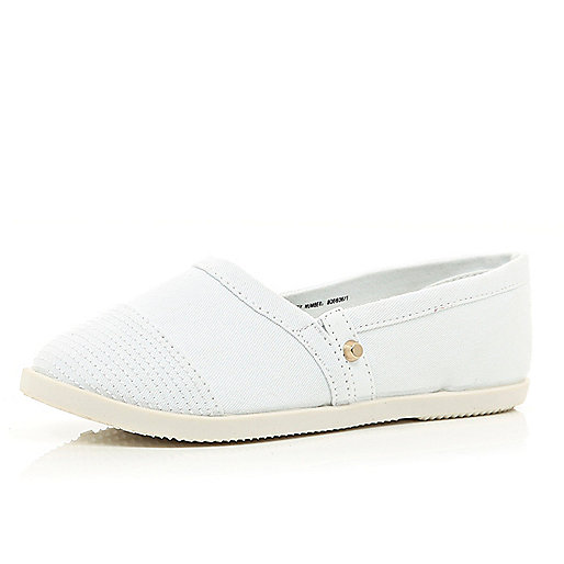 Girls white slip on plimsolls