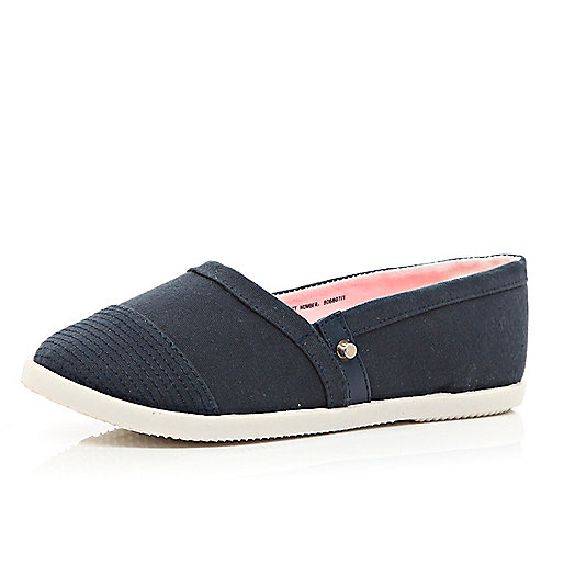 Girls navy slip on plimsolls