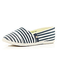 Girls navy stripe slip on plimsolls