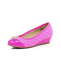 Girls pink quilted ballerina wedges