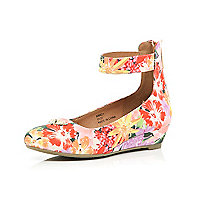Girls purpe floral ballerina wedges