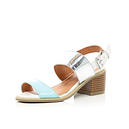 Girls blue and silver chunky heel sandals
