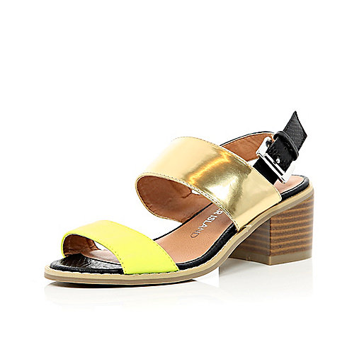Girls yellow and gold chunky heel sandals