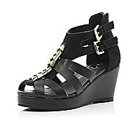 Girls black strappy open toe wedges