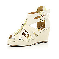 Girls cream strappy open toe wedges