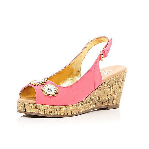 Girls coral floral slingback wedges