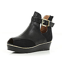Girls black cut out peep toe wedge boots