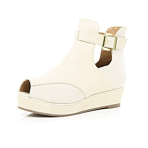 Girls beige ankle boot amy peep toe wedge