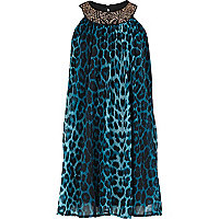 Girls green leopard print babydoll dress
