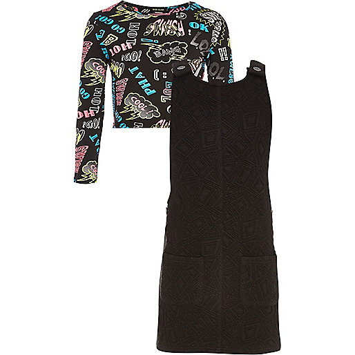 Girls black graffiti top and pinny dress set