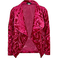Girls pink embossed waterfall jacket