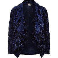 Girls blue embossed waterfall jacket