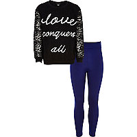Girls black love conquers sweat and leggings