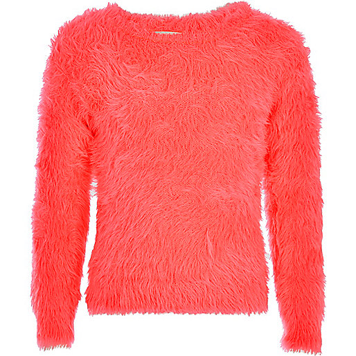 Girls pink fluffy jumper