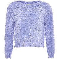 Girls blue long sleeve fluffy jumper
