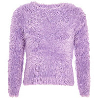 Girls purple long sleeve fluffy jumper