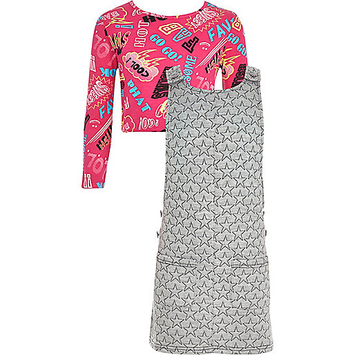 Girls pink grafitti top and pinny dress set