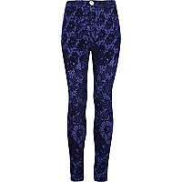 Girls blue flocked tube pants