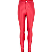 Girls pink wet look tube pants