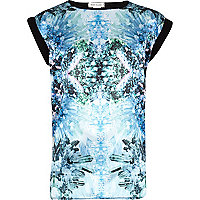 Girls blue crystal print t-shirt