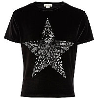Girls black velvet studded star t-shirt
