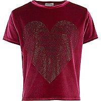 Girls pink velvet studded heart t-shirt