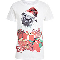Girls cream Christmas pug print t-shirt