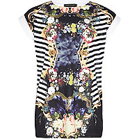 Girls white mirror floral print t-shirt
