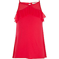 Girls red frill neck cami top