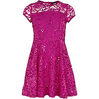 Girls pink lace sequin dress