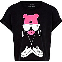 Girls black graffiti girl t-shirt