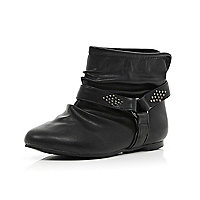 Girls black studded slouch boots