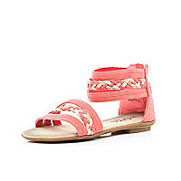 Girls coral strappy sandals